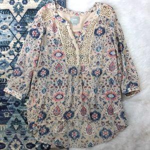 Anthropologie Printed Crochet Detail Blouse